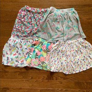 Bundle of 5 Carters' skorts for girl